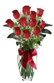 11 adet kirmizi gül vazo mika vazo içinde  Zonguldak 14 şubat sevgililer günü çiçek