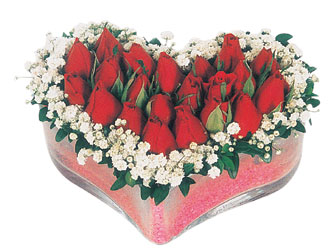 Zonguldak ucuz çiçek gönder  mika kalpte kirmizi güller 9