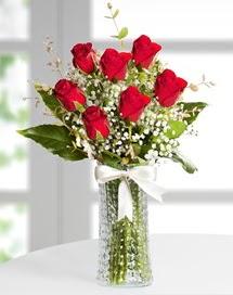 Cam vazoda 7 adet kırmızı gül  Zonguldak çiçek , çiçekçi , çiçekçilik