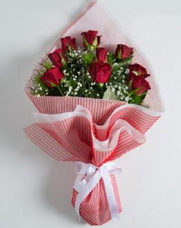 9 adet kırmızı gülden buket  Zonguldak çiçek satışı