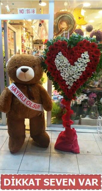 1.5 Metre peluş ayı ve Kalp  Zonguldak çiçek gönderme sitemiz güvenlidir