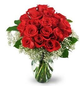 25 adet kırmızı gül cam vazoda  Zonguldak çiçek , çiçekçi , çiçekçilik