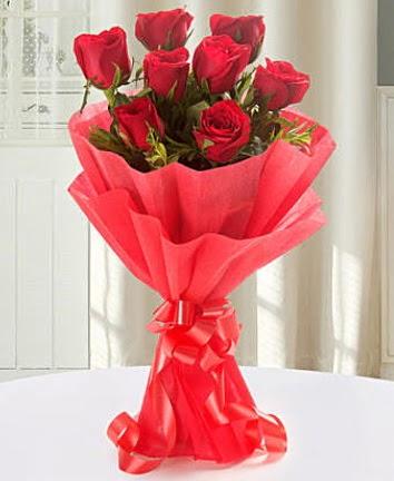 9 adet kırmızı gülden modern buket  Zonguldak çiçekçi mağazası