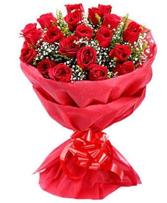 21 adet kırmızı gülden modern buket  Zonguldak çiçek gönderme