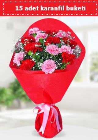 15 adet karanfilden hazırlanmış buket  Zonguldak anneler günü çiçek yolla