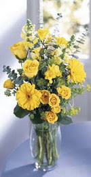 Zonguldak online çiçek gönderme sipariş  sari güller ve gerbera cam yada mika vazo