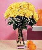 Zonguldak internetten çiçek satışı  9 adet sari güllerden cam yada mika vazo