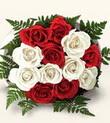 Zonguldak çiçek , çiçekçi , çiçekçilik  10 adet kirmizi beyaz güller - anneler günü için ideal seçimdir -