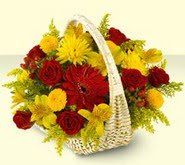 Zonguldak 14 şubat sevgililer günü çiçek  sepette mevsim çiçekleri