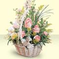 Zonguldak 14 şubat sevgililer günü çiçek  sepette pembe güller
