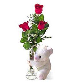oyuncak ve 3 adet gül  Zonguldak çiçek siparişi sitesi
