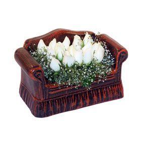 seramik içerisinde 11 gül  Zonguldak hediye çiçek yolla