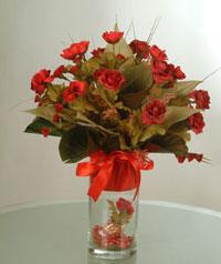 yapay güllerden vazo  9 gül  Zonguldak uluslararası çiçek gönderme
