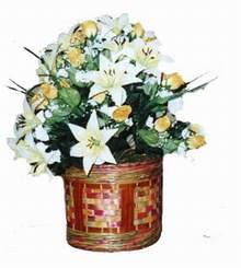 yapay karisik çiçek sepeti   Zonguldak anneler günü çiçek yolla