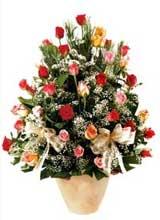 91 adet renkli gül aranjman   Zonguldak çiçek gönderme sitemiz güvenlidir