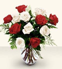Zonguldak uluslararası çiçek gönderme  6 adet kirmizi 6 adet beyaz gül cam içerisinde