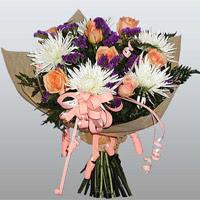 güller ve kir çiçekleri demeti   Zonguldak çiçekçiler