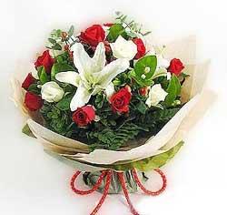 güller ve kazablanklardan görsel bir buket  Zonguldak internetten çiçek satışı