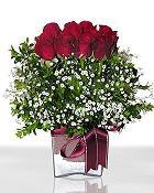 Zonguldak çiçek , çiçekçi , çiçekçilik  11 adet gül mika yada cam - anneler günü seçimi -