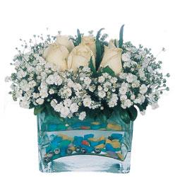 Zonguldak İnternetten çiçek siparişi  mika yada cam içerisinde 7 adet beyaz gül