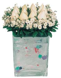 Zonguldak İnternetten çiçek siparişi  7 adet beyaz gül cam yada mika vazo tanzim