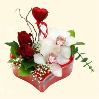 Zonguldak hediye sevgilime hediye çiçek  1 kandil orkide 5 adet kirmizi gül mika kalp