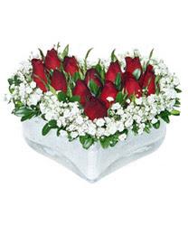 Zonguldak internetten çiçek siparişi  mika kalp içerisinde 9 adet kirmizi gül