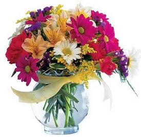 Zonguldak internetten çiçek satışı  cam yada mika içerisinde karisik mevsim çiçekleri