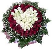 Zonguldak çiçek mağazası , çiçekçi adresleri  27 adet kirmizi ve beyaz gül sepet içinde