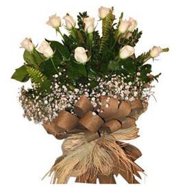 Zonguldak ucuz çiçek gönder  9 adet beyaz gül buketi