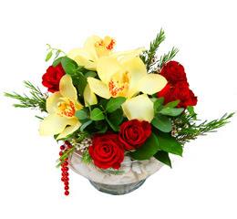 Zonguldak çiçek gönderme  1 adet orkide 5 adet gül cam yada mikada