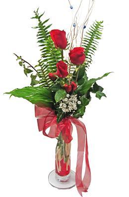 Çiçek gönderin cam vazoda 3 gül çiçekleri  Zonguldak çiçek siparişi sitesi