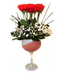 Zonguldak çiçekçiler  cam kadeh içinde 7 adet kirmizi gül çiçek