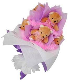 9 adet ayiciktan buket  Zonguldak hediye sevgilime hediye çiçek