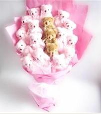 17 adet pelus ayicik buketi  Zonguldak çiçekçi mağazası