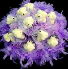11 adet pelus ayicik buketi  Zonguldak çiçek , çiçekçi , çiçekçilik