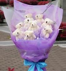 11 adet pelus ayicik buketi  Zonguldak çiçekçi telefonları