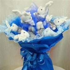 7 adet pelus ayicik buketi  Zonguldak çiçek , çiçekçi , çiçekçilik