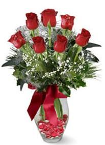 Zonguldak internetten çiçek siparişi  7 adet kirmizi gül cam vazo yada mika vazoda