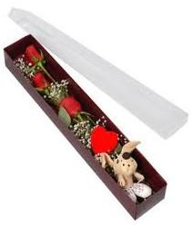kutu içerisinde 3 adet gül ve oyuncak  Zonguldak anneler günü çiçek yolla