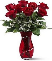 Vazo içinde 8 adet kirmizilar içinde güller  Zonguldak internetten çiçek siparişi
