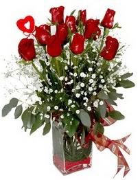 Zonguldak çiçek siparişi vermek  9 adet mika yada cam vazoda gül tanzimi kalp çubuk