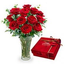 Zonguldak İnternetten çiçek siparişi  10 adet cam yada mika vazoda gül çikolata