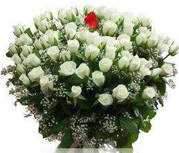 Zonguldak internetten çiçek satışı  100 adet beyaz 1 adet kirmizi gül buketi