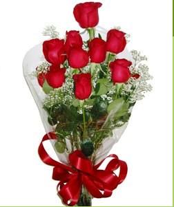 Zonguldak uluslararası çiçek gönderme  10 adet kırmızı gülden görsel buket