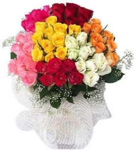 Zonguldak ucuz çiçek gönder  51 adet farklı renklerde gül buketi