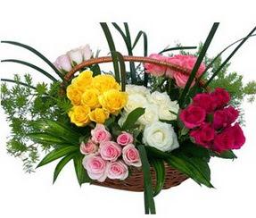 Zonguldak çiçekçi telefonları  35 adet rengarenk güllerden sepet tanzimi