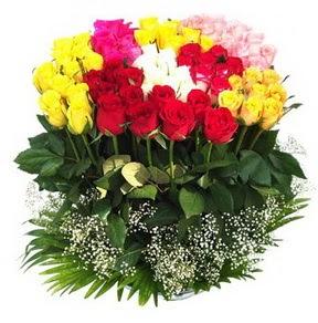 Zonguldak çiçek mağazası , çiçekçi adresleri  51 adet renkli güllerden aranjman tanzimi