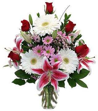 Zonguldak çiçek mağazası , çiçekçi adresleri  1 dal kazablanka 5 gül ve kırçiçeği vazosu