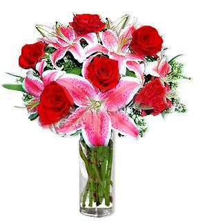 Zonguldak çiçek yolla  1 dal cazablanca ve 6 kırmızı gül çiçeği